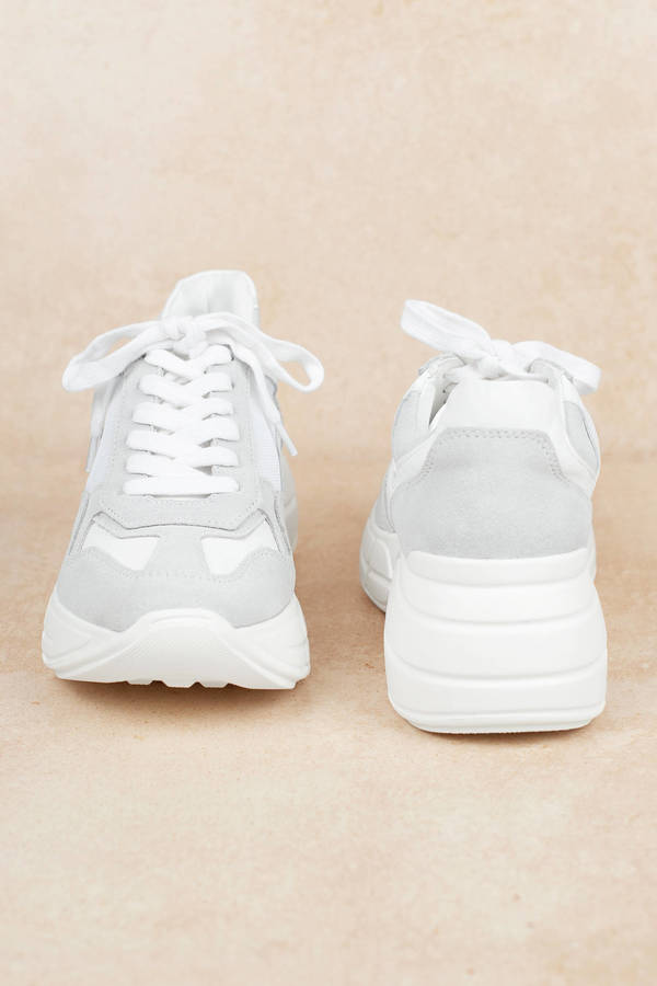 e2152c17bfc White Steve Madden Sneakers - Chunky Sole Shoes - White Retro ...