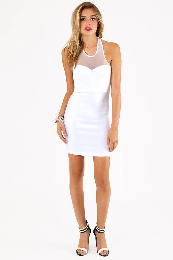 Mesh and Halt Bodycon Dress