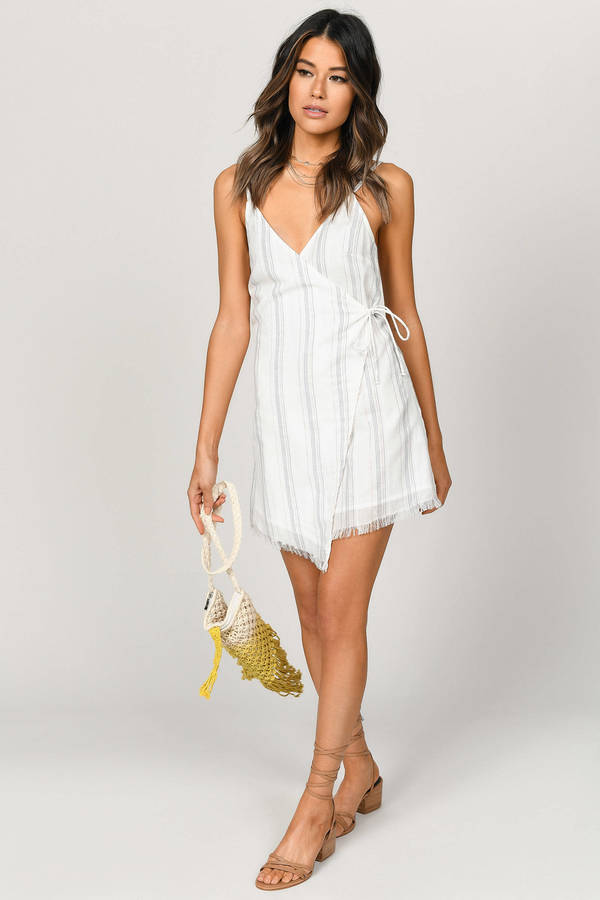 5035b08eda ... Tobi Boho Dresses, White Multi, Accept Me Stripe Wrap Shift Dress, Tobi