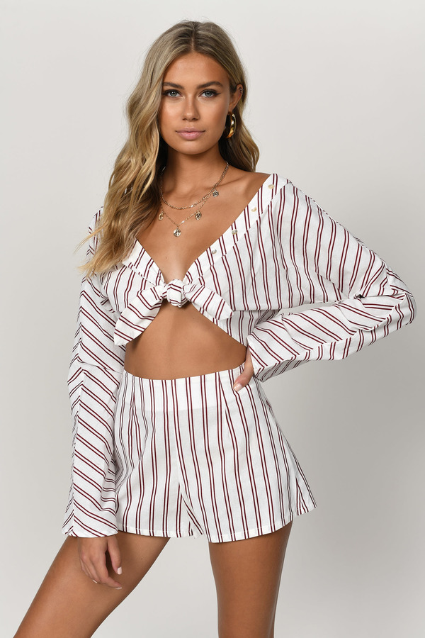 0c110072c7a White Crop Top - Front Knot Crop Top - White Striped Crop Top - $23 ...