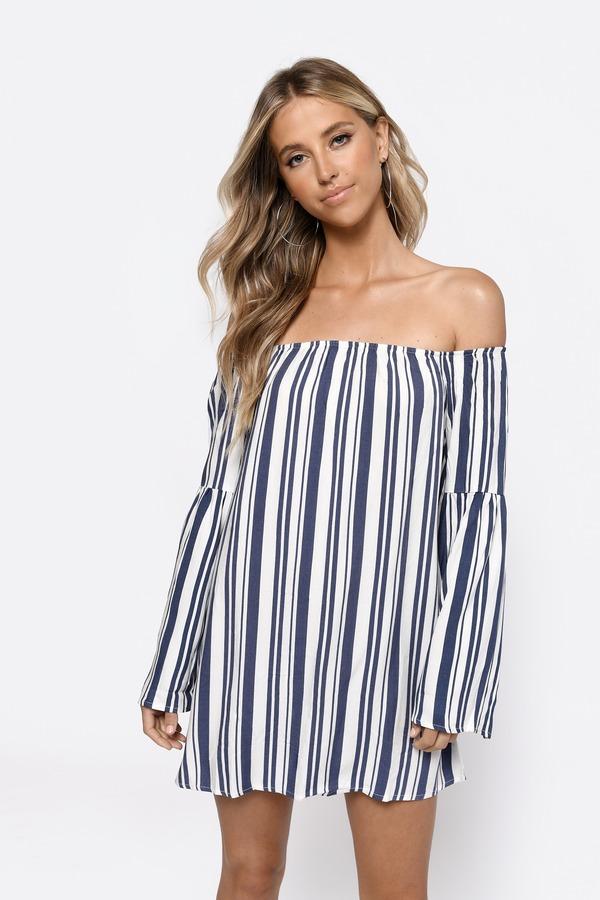 Cute White Multi Shift Dress - Off Shoulder Dress - $58.00