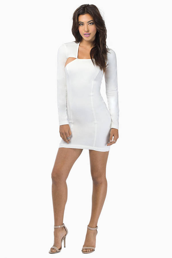Nameless White Velvet Bodycon Dress