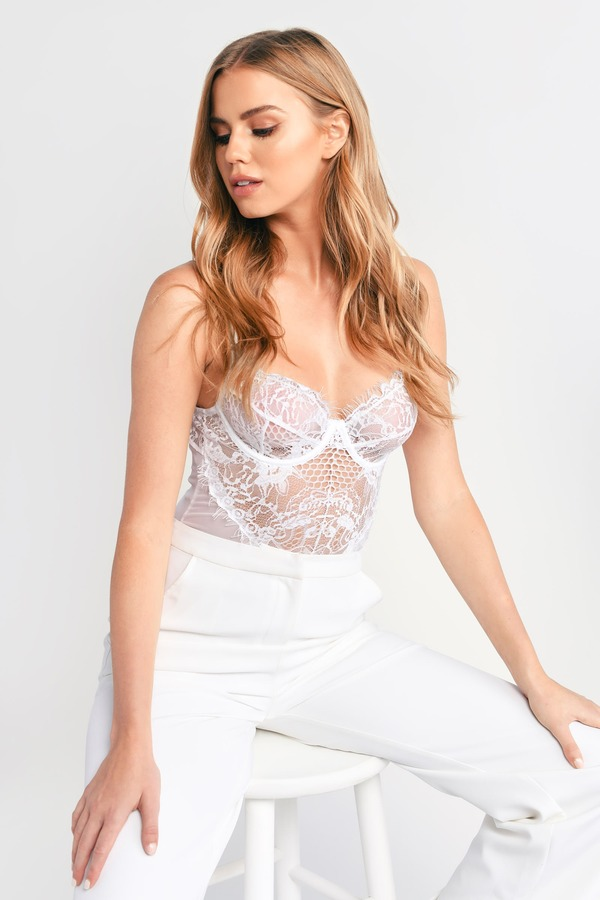 Sexy White Bodysuit - Sheer Lace Bodysuit - White Bustier ...