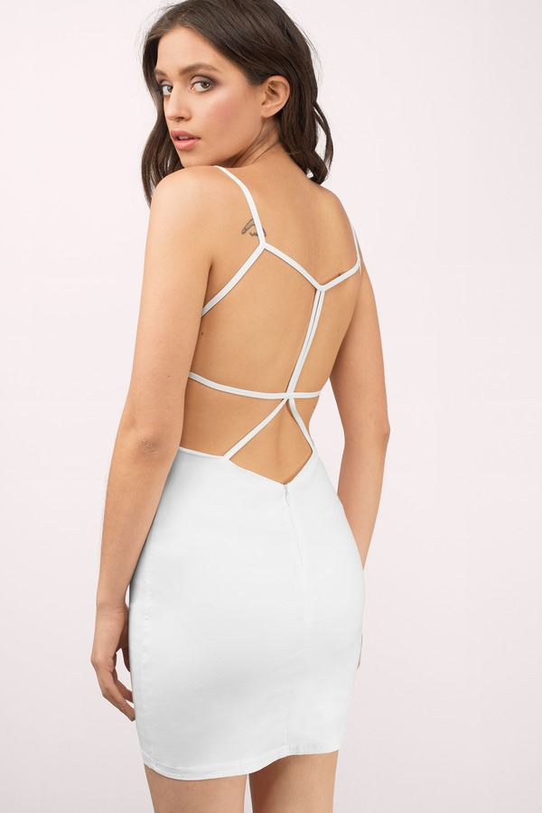 Sexy White Bodycon Dress - Strappy Dress - $29.00
