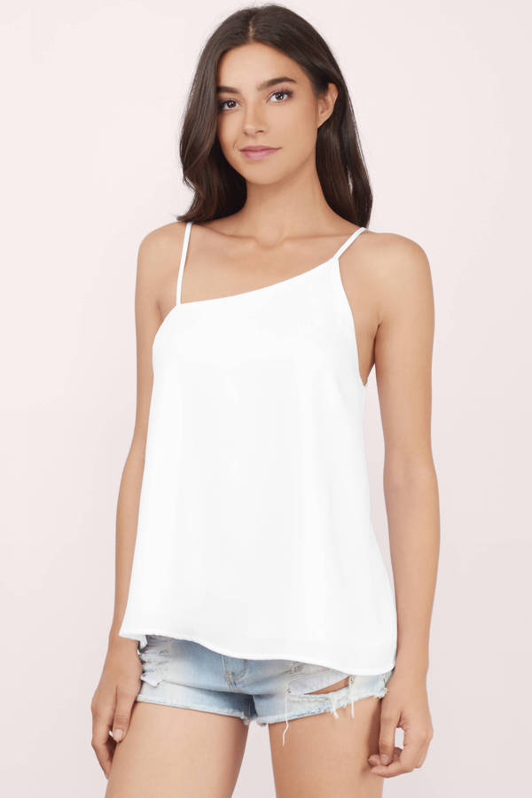 Cute White Tank Top Asymmetric Top White Top White