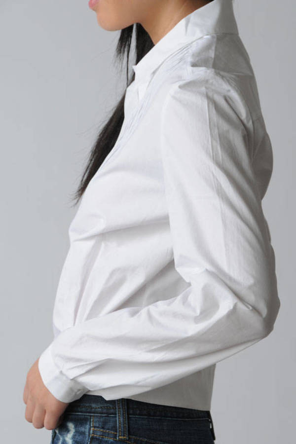 White Paul Joe Sister Shirt Pleated Blouse White Long Sleeve
