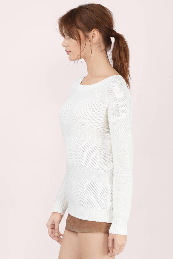 White Sweater - Boat Neck Sweater - White Knit Sweater - $13 | Tobi US
