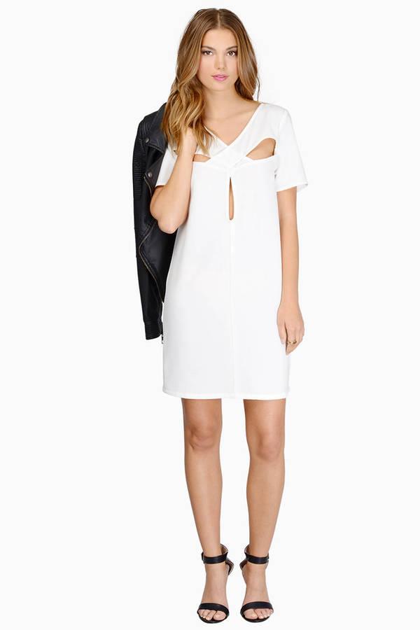 Trendy White Shift Dress - Cut Out Dress - $8.00