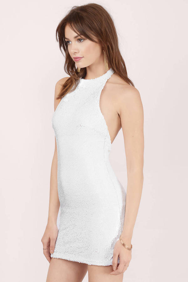 Cheap White Bodycon Dress - Sequin Dress - $15.00