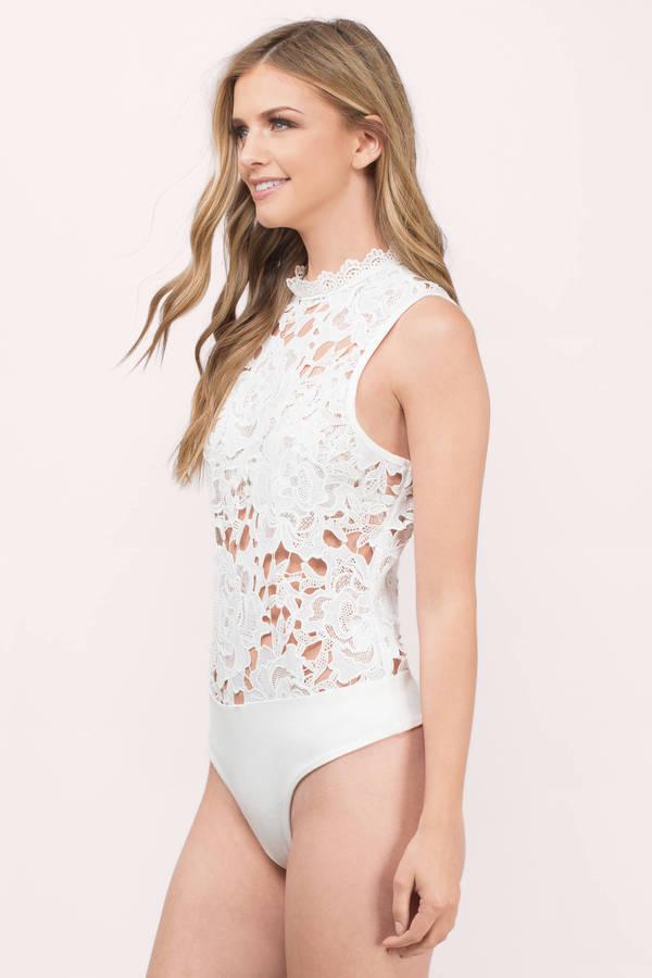 cc76cc753 White Bodysuit - Sleeveless Bodysuit - Cream Lace Top - Bodysuit ...