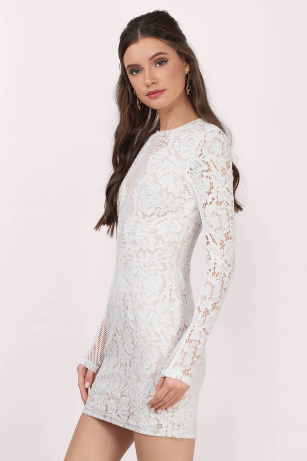 Cute Dress - Lace Bodycon Dress - Long Sleeve - White Dress - $66 ...