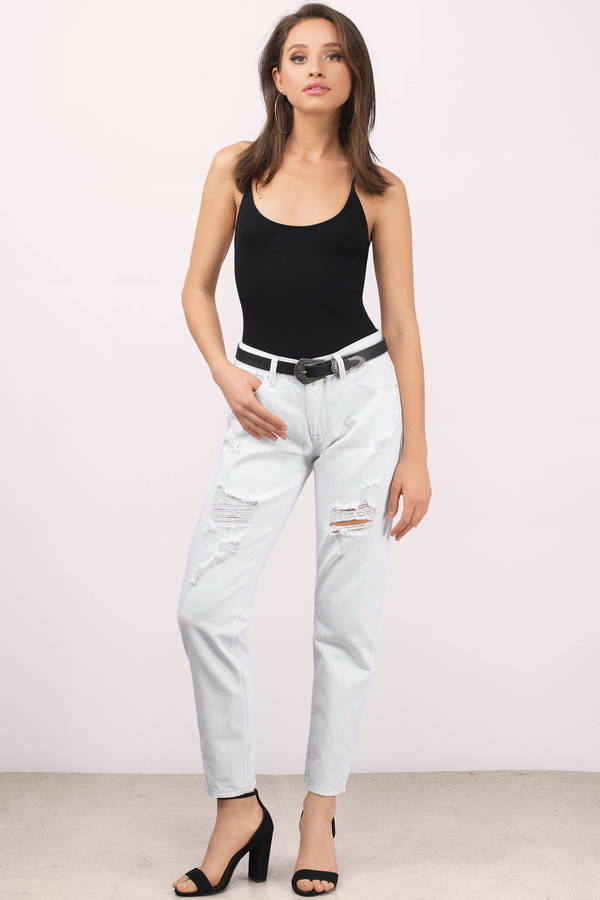 Trendy White Denim - Distressed Denim - White Denim - $80.00