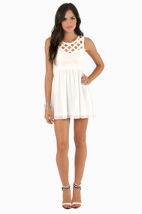 See You Lattice Skater Dress