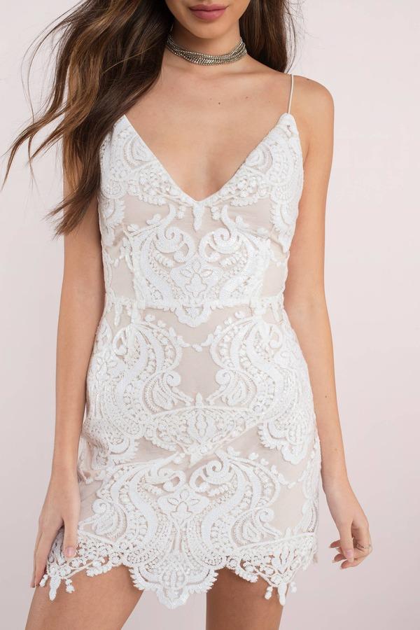 8eb9538683e Cute White Bodycon Dress - Sequin Lace Dress - Elegant White Dress ...
