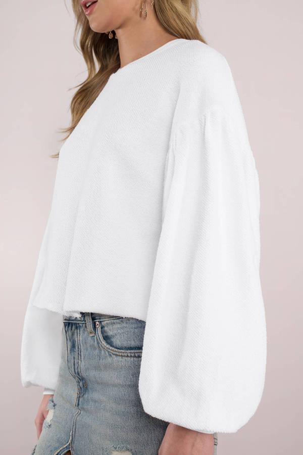 f19054261be Free People White Sweatshirt - Big Sleeved Sweatshirt - Oversized ...
