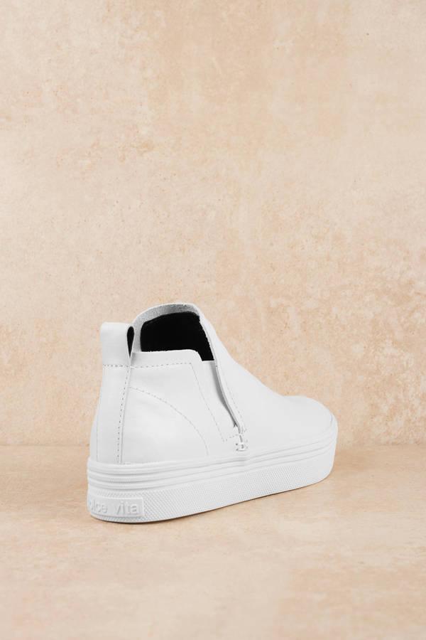 52bcfd8618bd White Dolce Vita Sneakers - Casual Hi Top Sneakers - All White Hi ...