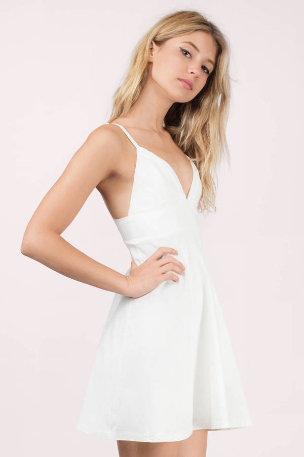 2187702097c2 Cheap White Skater Dress - White Dress - Cami Dress - Skater Dress ...