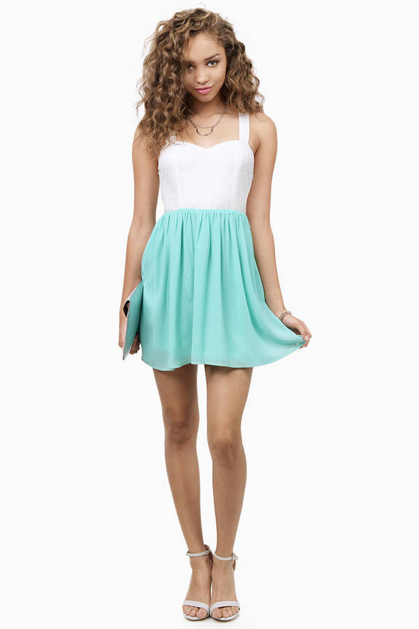 Doubled Deedee White Turquoise Skater Dress