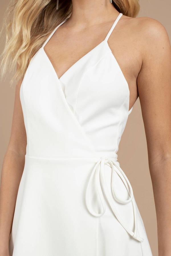 46e8fac568 Yasmine White Wrap Skater Dress Yasmine White Wrap Skater Dress ...