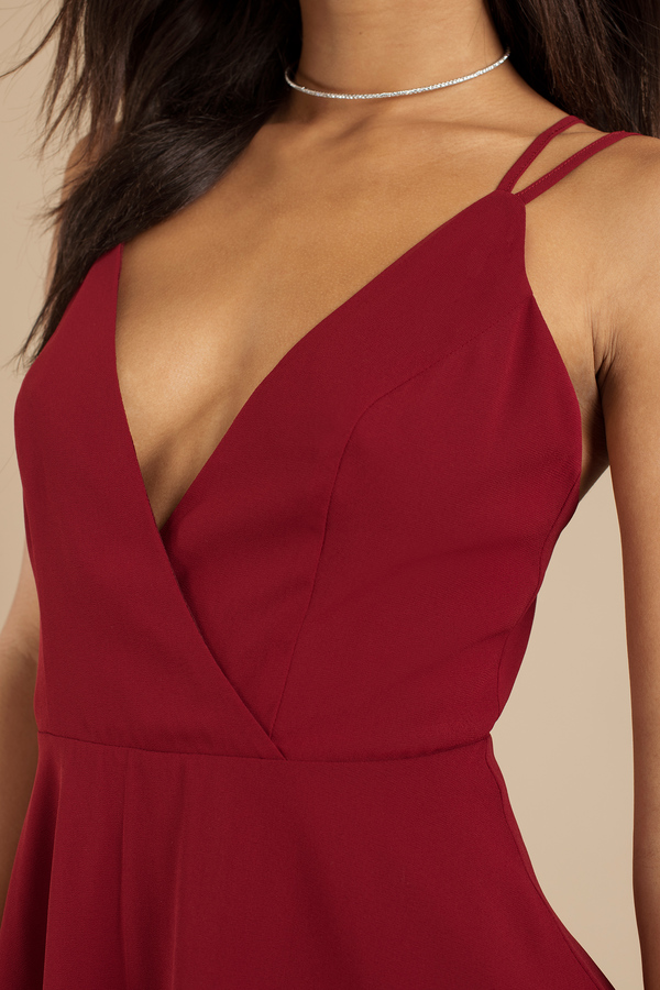 Wine Skater Dress Strappy Back Dress Wine Dress