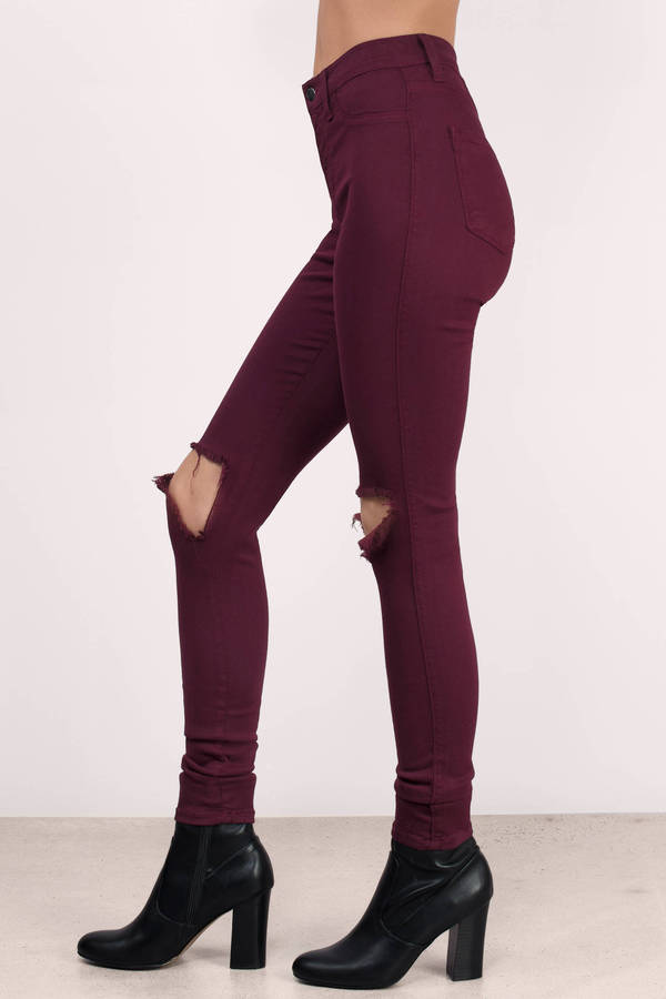 Wine Denim Jeans - Red Jeans - Distressed Jeans - $42.00