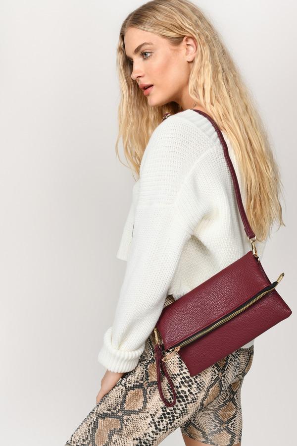 Tobi Handbags And Purses Wine Diana Fold Over Faux Leather Clutch