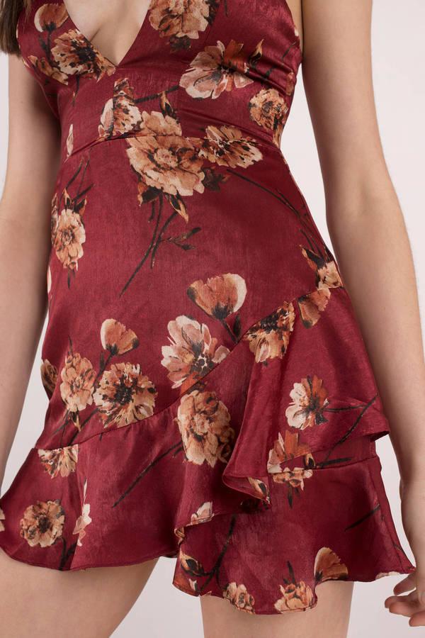 f183923d25 Falling Wine Floral Wrap Dress Falling Wine Floral Wrap Dress ...
