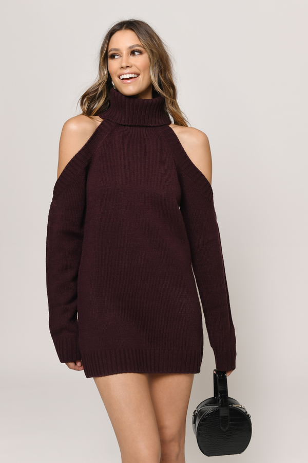 29847c1a809 Wine Casual Dress - Cold Shoulder Dress - Wine Sweater Dress -  36 ...