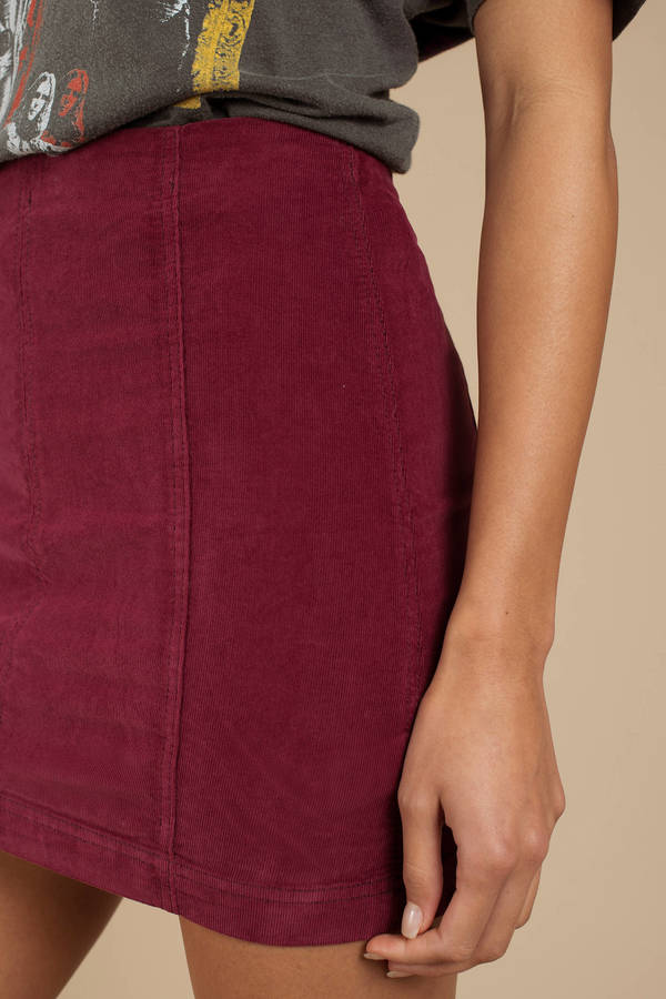 b28be604a442 Burgundy Free People Skirt - Corduroy Mini Skirt - Burgundy Pencil ...