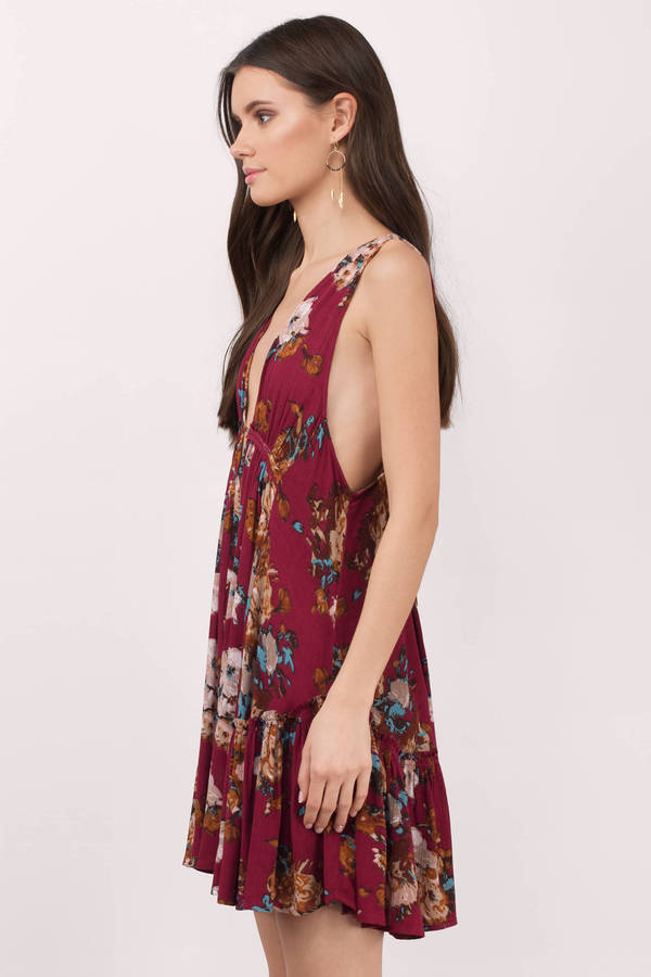 Sexy Red Casual Dress - Plunging Dress - Red Floral Dress -  80 ... 73036ff6a
