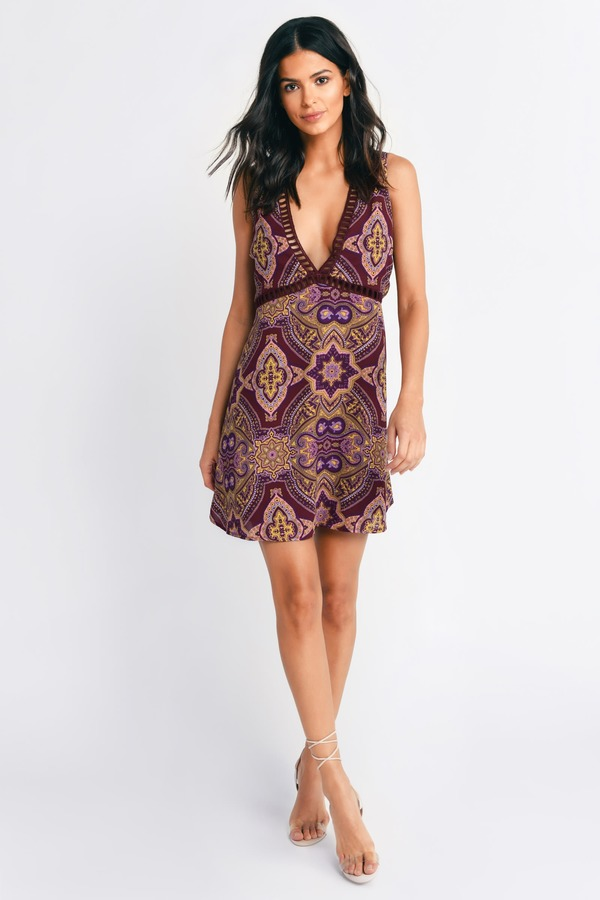 Cute Wine Multi Shift Dress - Plunging V Dress - Boho Print Dress ... 2359d4dca