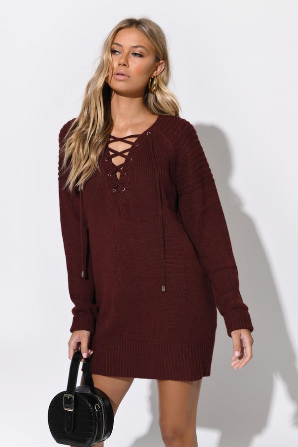 Sexy Wine Casual Dress - Lace Up Dress