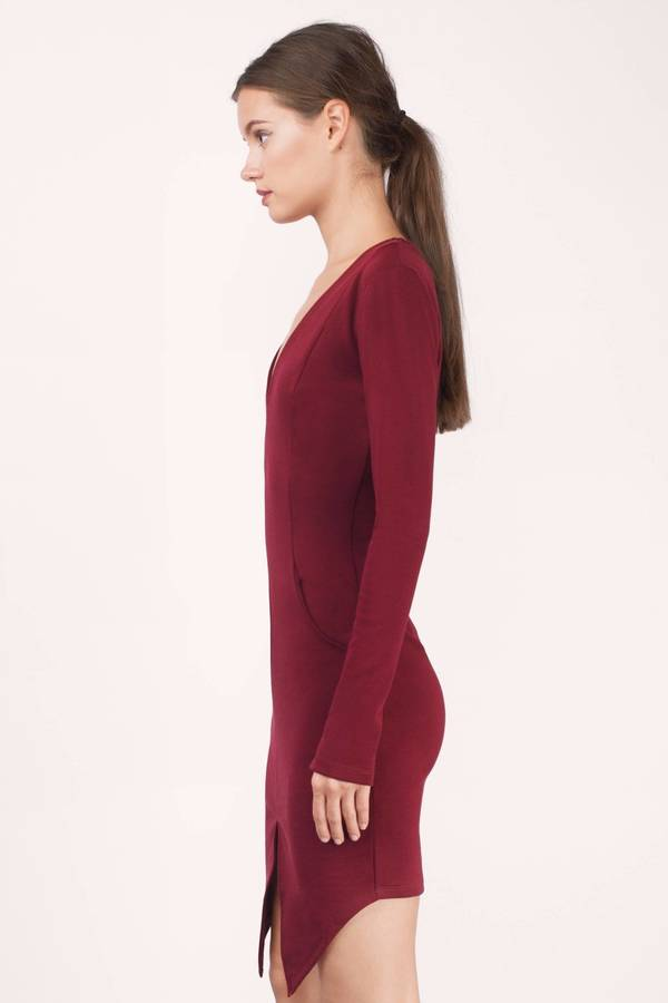 38187ddc5d4ca Trendy Wine Bodycon Dress - V Neck Dress - Bodycon Dress - $13 | Tobi US