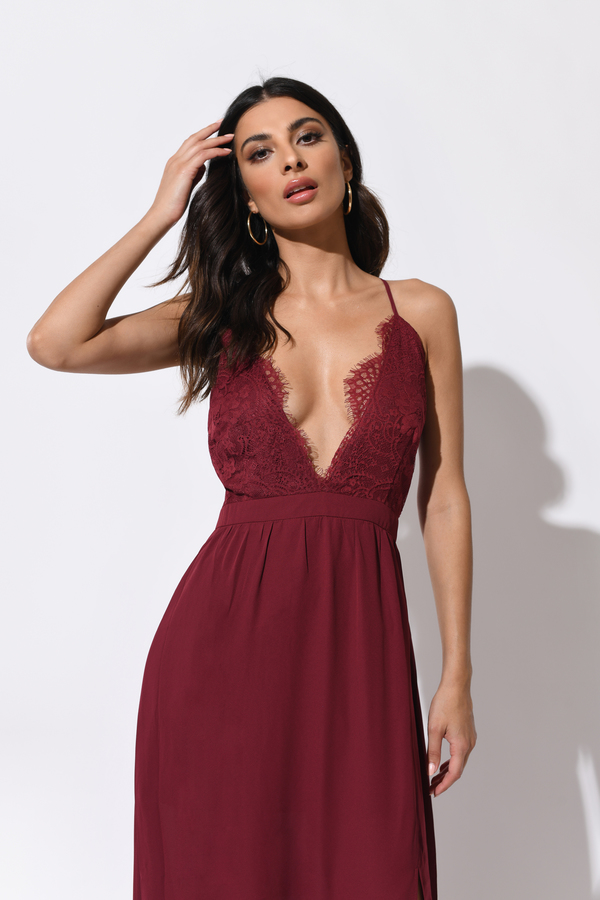 Opposites Attract Wine Lace Maxi Dress