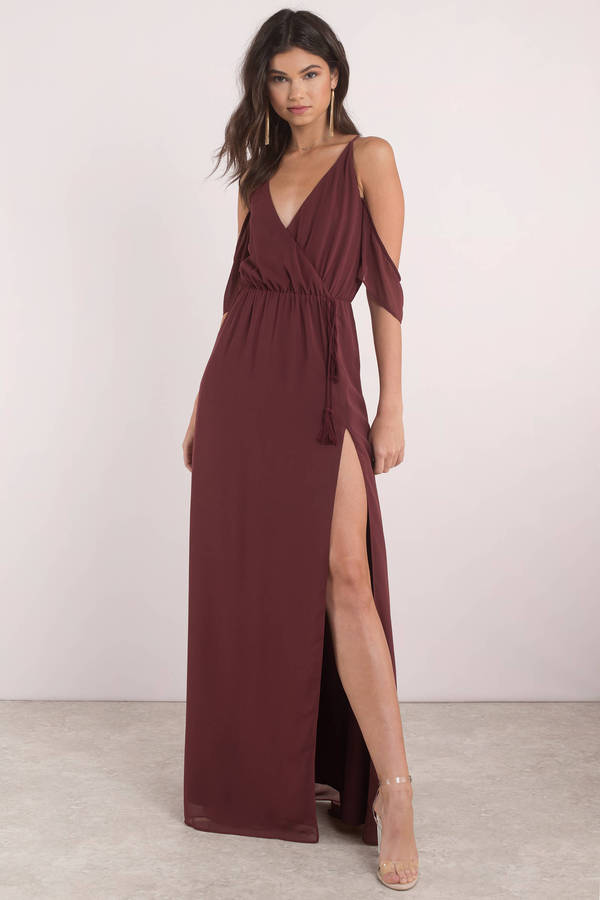Lovely Wine Maxi Dress - Slit Dress - Wine Dress - Maxi Dress ...
