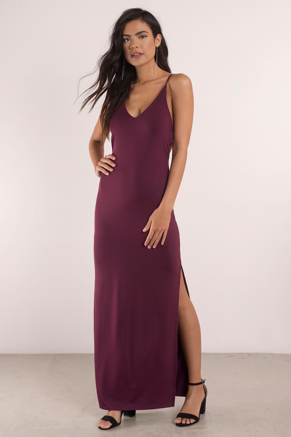 9a17ad9630d Sexy Wine Maxi Dress - Open Back Dress - Prom Dress - Maxi Dress ...