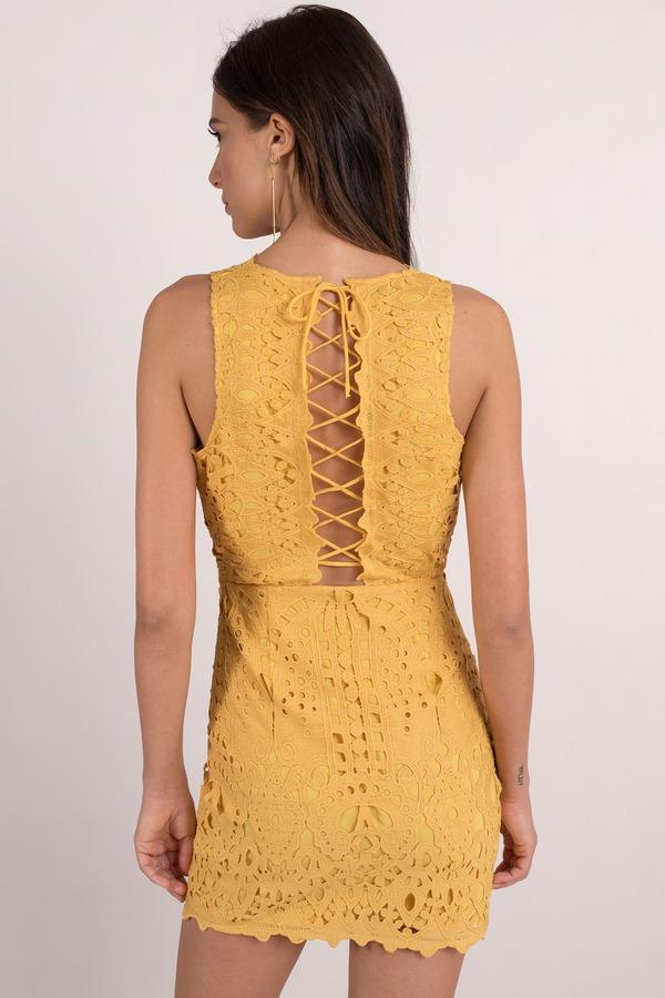 Yellow Bodycon Dress Tank Dress Yellow Lace Up Dress