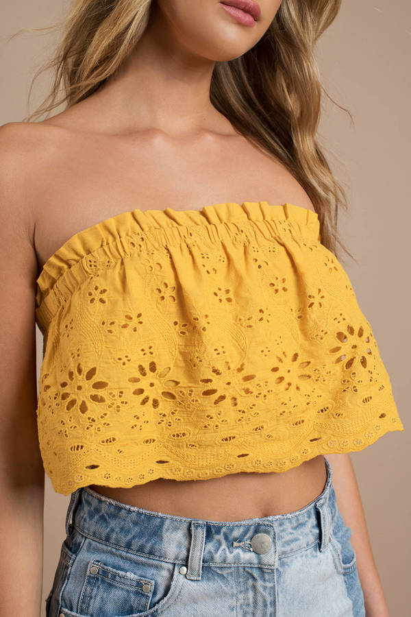 1e03dce76cbae4 Trendy Yellow Crop Top - Strapless Top - Yellow Eyelet Crop Top ...