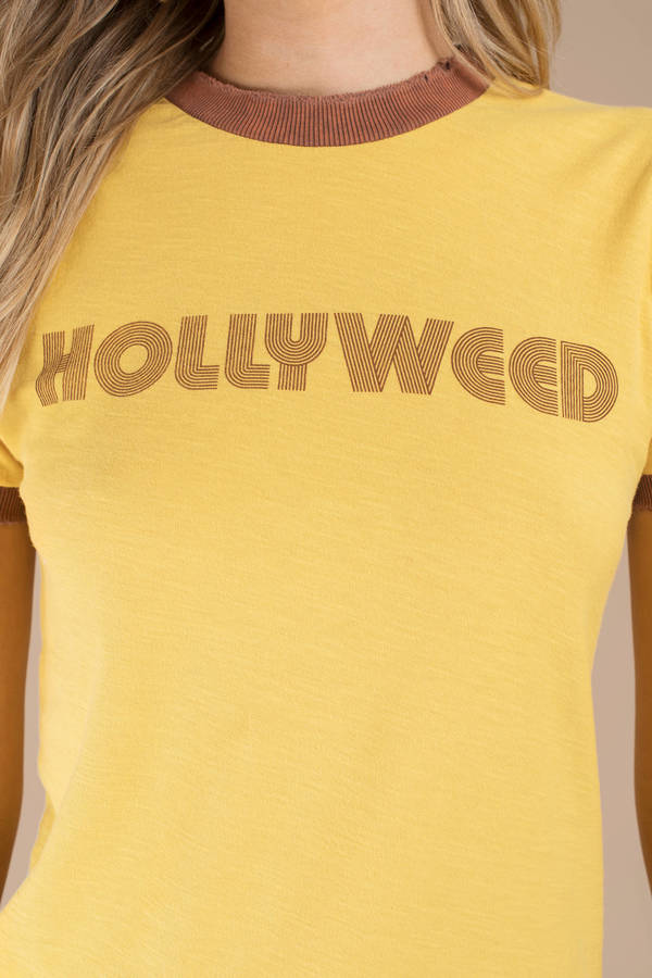 e5f9d66a12 ... Stoned Immaculate Stoned Immaculate Hollyweed Yellow Graphic Tee ...