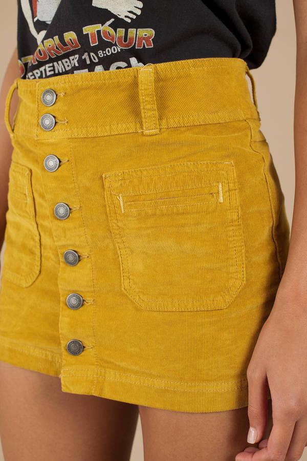 20406cf08d Yellow Mini Skirt - Button Up Skirt - Yellow Corduroy Skirt - $40 ...