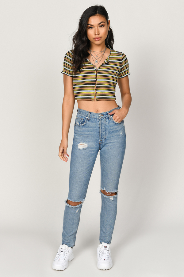 1a14a4718dfdb0 Yellow Crop Top - Short Sleeve Top - Yellow Striped Crop Top - $25 ...