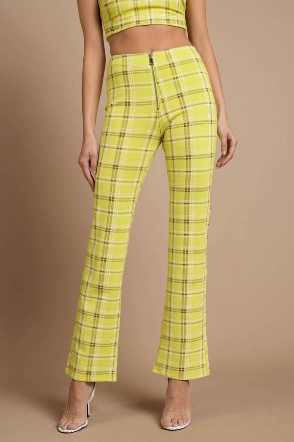 Yellow I Am Gia Pants Designer Plaid Pants Yellow