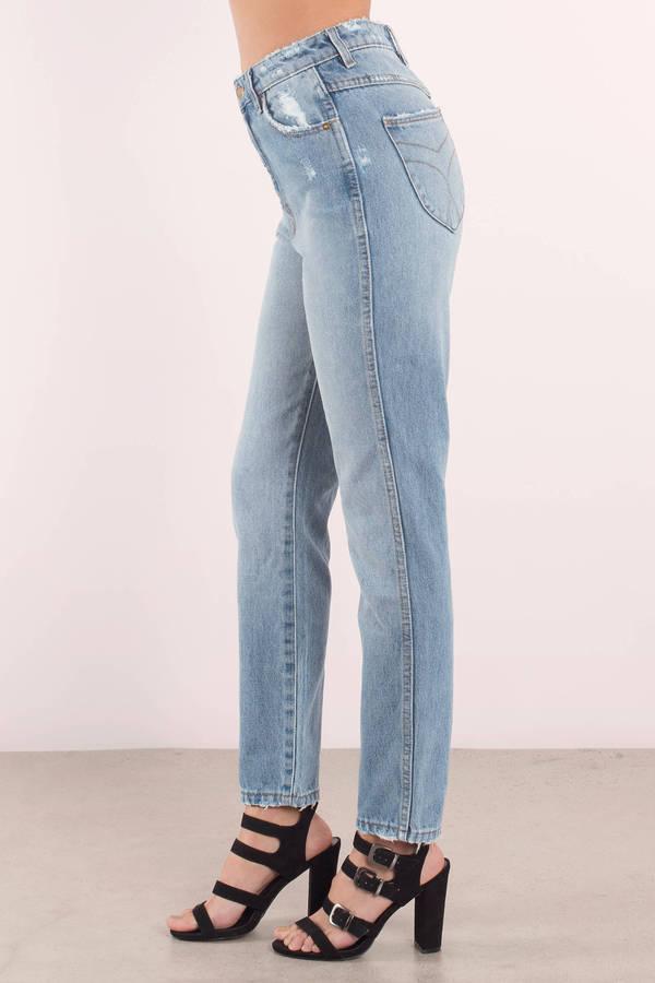 Blue Denim Blue Denim Blue High 90's Waisted Jeans Denim 90's BRAwxY