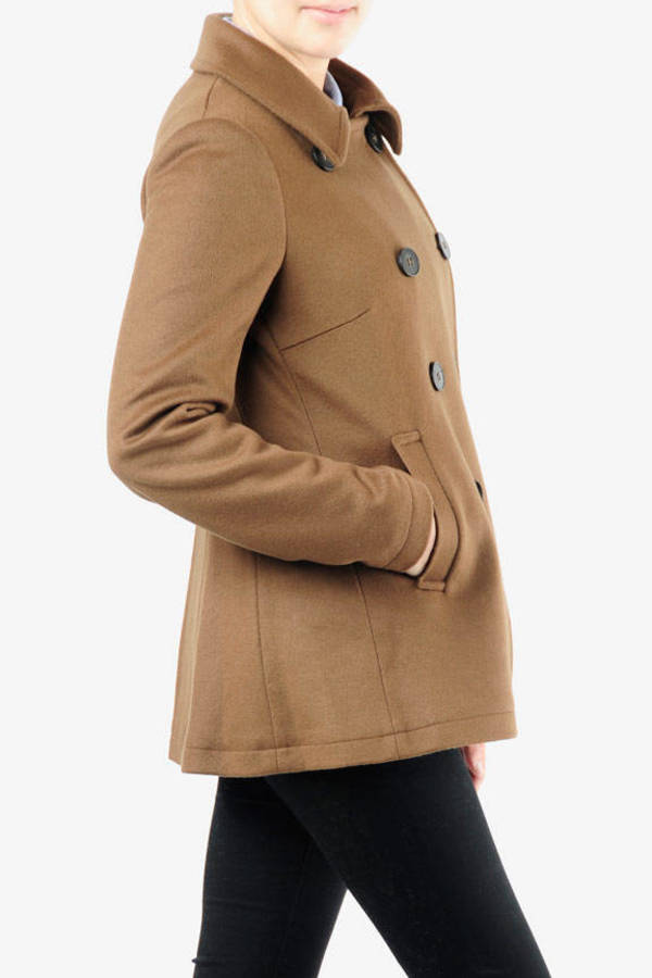 d0a7cfc96e5f Brown Theory Jacket - Double Breasted Pea Coat - Thick Brown Pea ...
