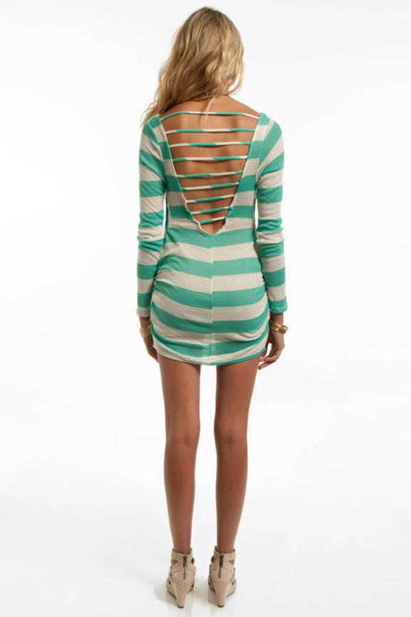 Double Zero Ruche Hour Striped Tunic Dress