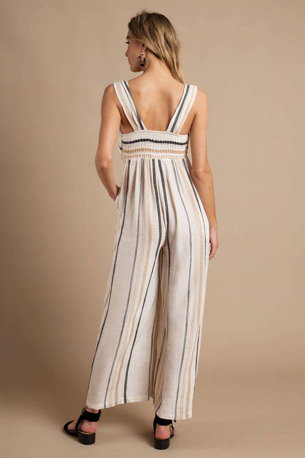 5dca44582b2b ... Free People Free People Breezin  Through Beige Striped Jumpsuit