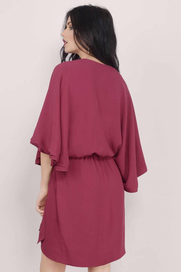 Burgundy Wrap Dress - Bell Sleeve Wrap Dress - Burgundy Swing Dress ...