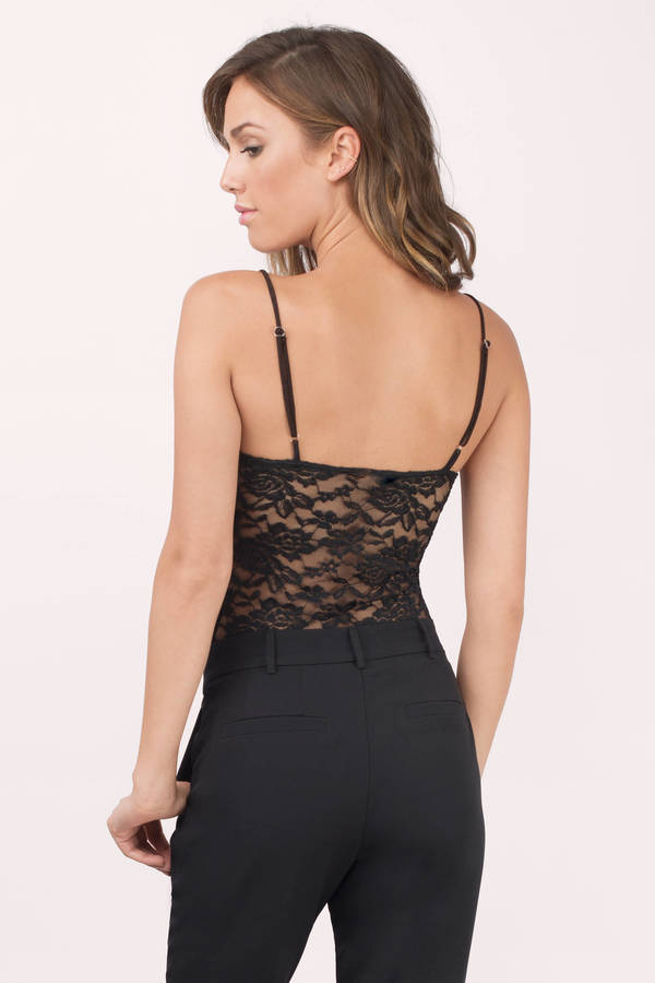 d1a1c5602e Trendy Black Bodysuit - Lace Bodysuit - Black Bodysuit -  50