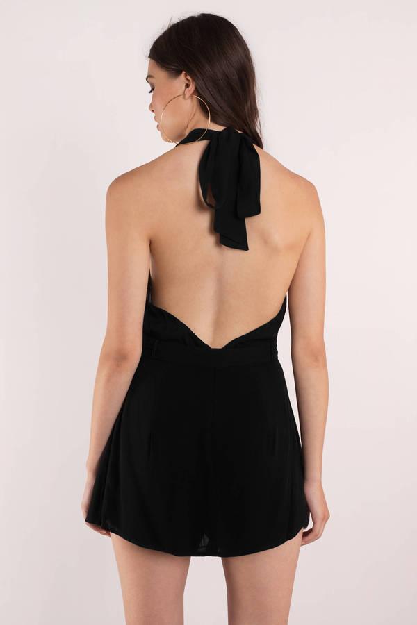 c6e7f1a9a74 Sexy Black Romper - Plunging Neckline - Backless Romper - € 27