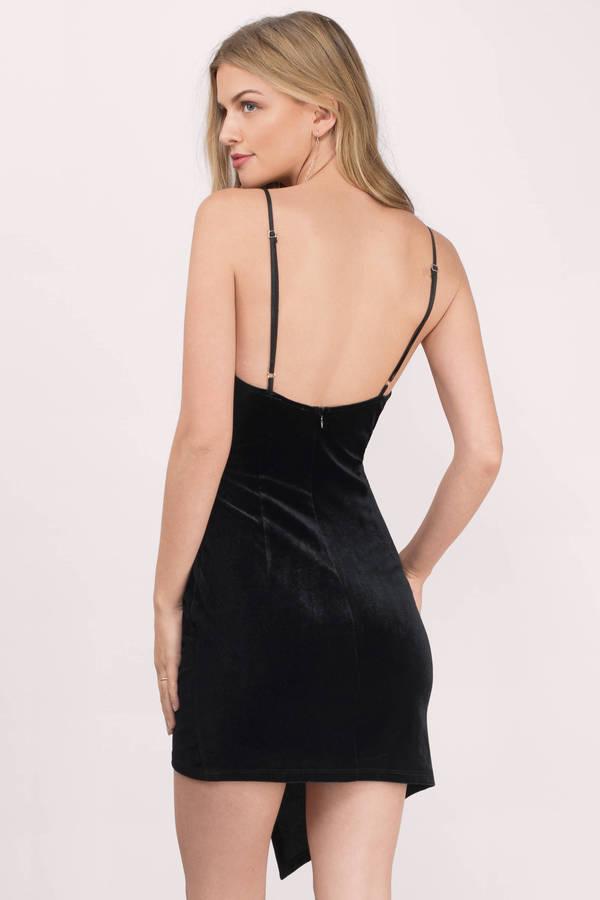 5c2f48e00b6 Black Wrap Dress - Low Back Wrap Dress - Black Asymmetrical Dress ...